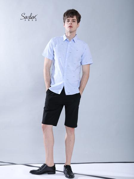 莎斯莱思男装品牌2019春夏新款修身碎印花衬衫休闲短袖尖领上衣