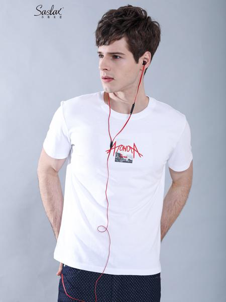 莎斯莱思男装品牌2019春夏新款潮牌上衣服潮流字母印花纯棉学生半袖体恤