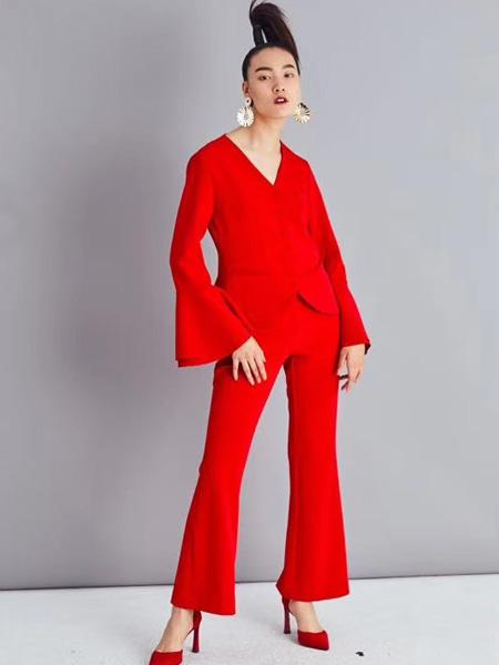 音色女装品牌2019秋季新款大红喜气收腰显瘦长袖薄款西装外套套装