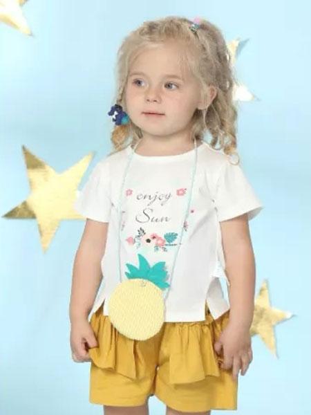 婴姿坊童装品牌2019春夏女童半袖上衣潮韩版洋气儿童小童短袖