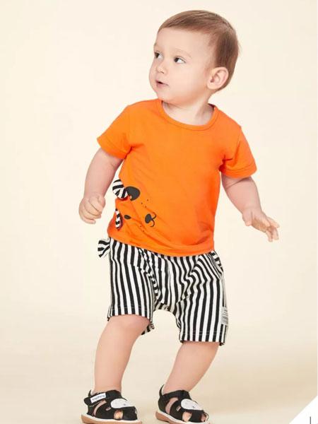 婴姿坊童装品牌2019春夏新款韩版卡通T恤潮两件套装