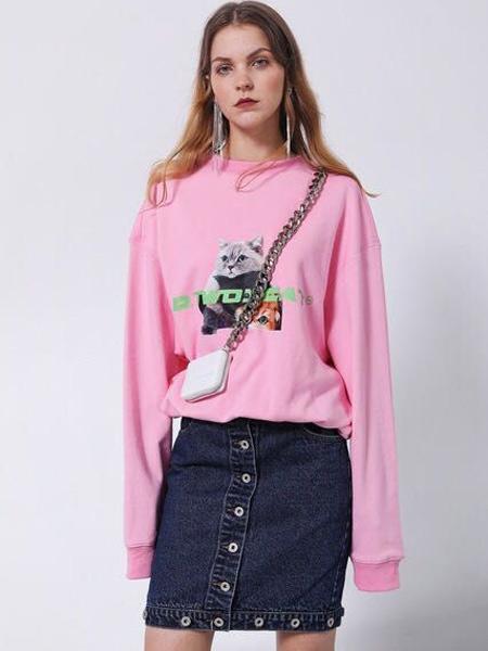D.TWO女装品牌2019秋季新款纯色棉质宽松大版长袖T恤