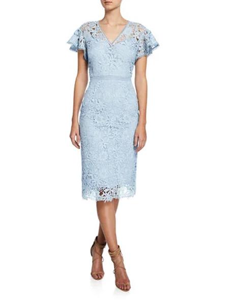 Generra姬奈拉女装品牌2019春夏新款优雅V领粉紫色修身短袖中长裙蕾丝连衣裙