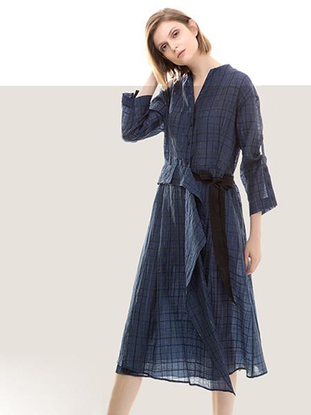 五色能量colour5power女装品牌2019春夏新款修身高腰长款连衣裙女蓝色格子收腰棉麻长裙