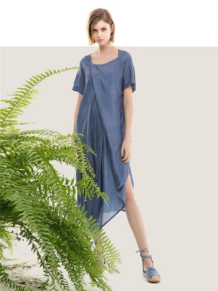 五色能量colour5power女装品牌2019春夏新款短袖亚麻连衣裙文艺宽松休闲纯色长裙