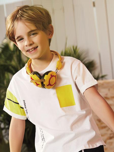 杰米熊童装品牌2019春夏新款涂鸦印花撞色运动短袖T恤