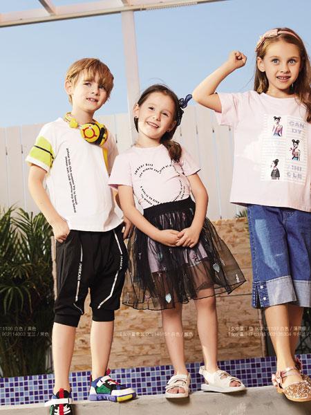 杰米熊童装品牌2019春夏新款宽松圆领撞色拼接刺绣短袖T恤潮