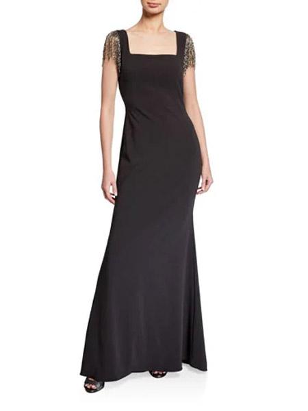 Caramelo卡拉米洛女装品牌2019春夏新款长款修身鱼尾深V婚纱晚礼服