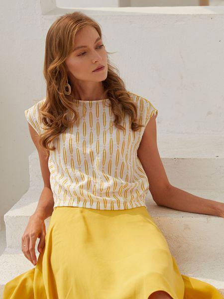 衣艾女装品牌2019春夏宽松条纹印花圆领短袖衫