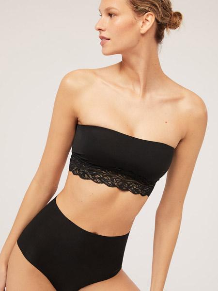 Oysho内衣品牌2019春夏黑色蕾丝无钢圈可拆式胸垫文胸抹胸内衣