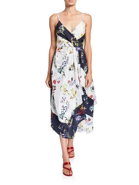 吉尼儿女装品牌2019春夏新款吊带碎花长款休闲连衣裙