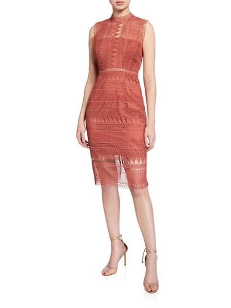 吉尼儿女装品牌2019春夏新款 复古蕾丝无袖性感中长连衣裙