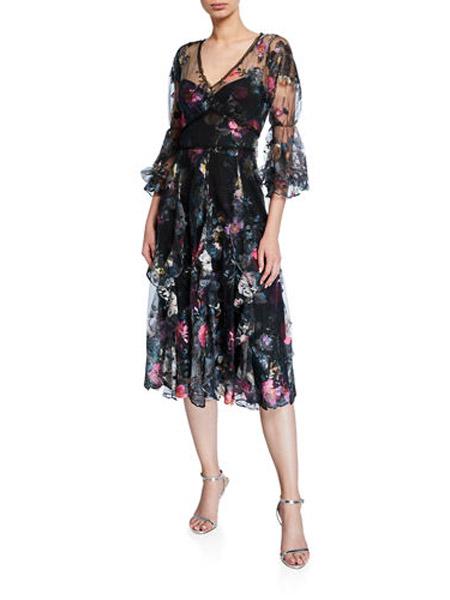 吉尼儿女装品牌2019春夏新款时尚印花圆领高腰显瘦连衣裙长裙