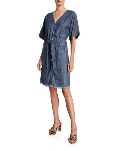 吉尼儿女装品牌2019春夏新款时尚V领显瘦百搭牛仔连衣裙
