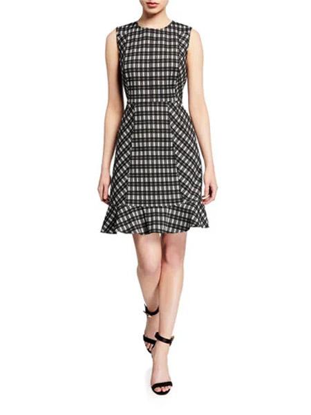吉尼儿女装品牌2019春夏新款韩版修身显瘦气质甜美中长款不规则裙子格子连衣裙