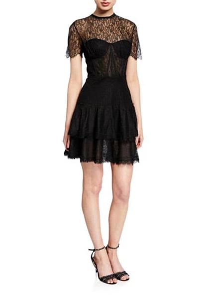 吉尼儿女装品牌2019春夏新款拼接蕾丝连衣裙女荷叶边网纱裙波点短袖