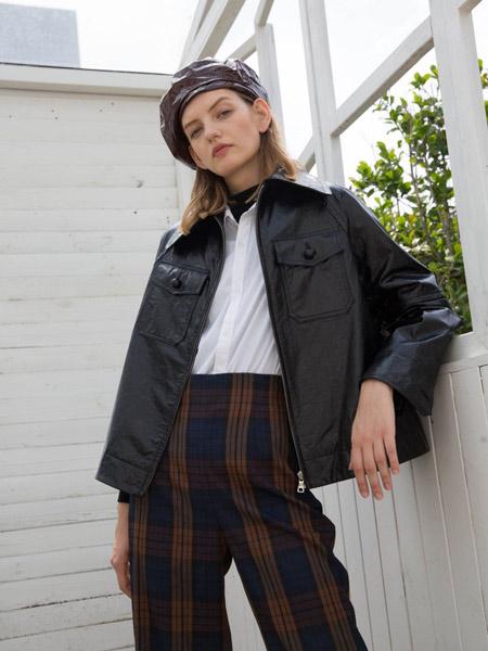 爱芭娜女装品牌2019秋冬新款优雅气质大翻领落肩廓形绵羊皮衣外套