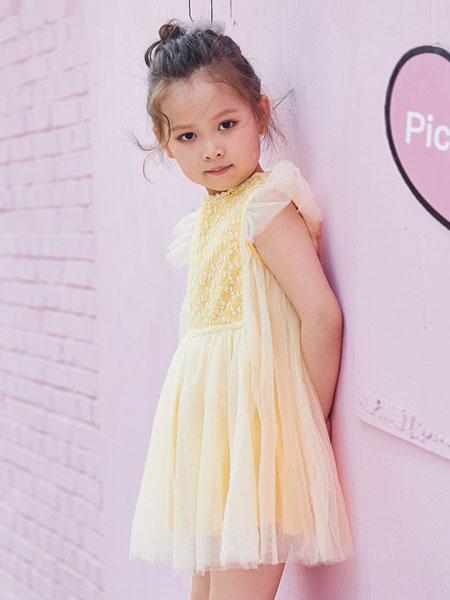 V-rules童装品牌2019春夏新品香蕉黄复古田园风纱裙