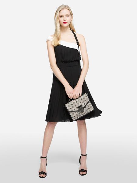Karl Lagerfeld(卡尔拉格菲尔德)女装品牌2019春夏新款宴会高贵优雅黑色连衣裙