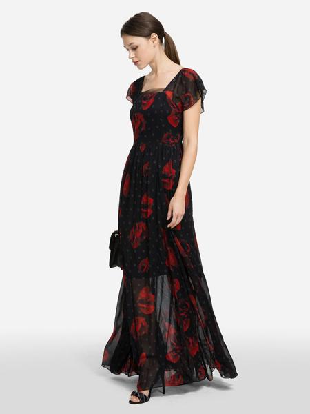 Karl Lagerfeld(卡尔拉格菲尔德)女装品牌2019春夏新款流行气质收腰显瘦V领长裙子碎花雪纺连衣裙