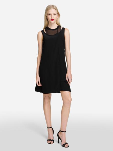 Karl Lagerfeld(卡尔拉格菲尔德)女装品牌2019春夏新款修身显瘦无袖圆纱领中长款A字裙