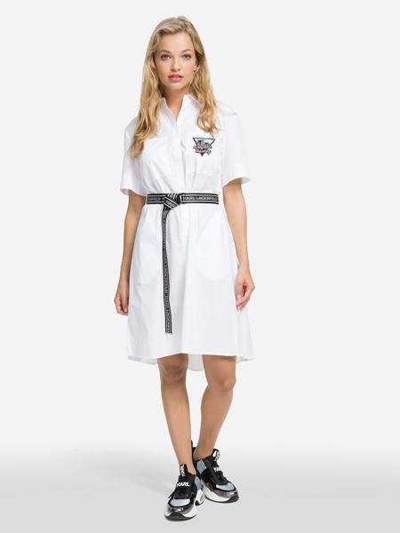 Karl Lagerfeld(卡尔拉格菲尔德)女装品牌2019春夏新款韩版宽松显瘦直筒短袖半开领中长裙衬衫腰带连衣裙