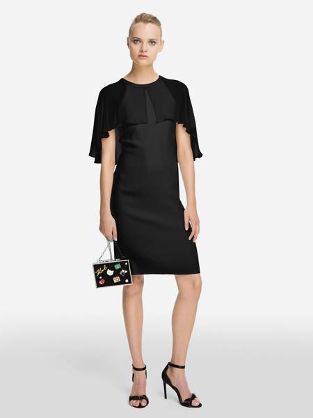 Karl Lagerfeld(卡尔拉格菲尔德)女装品牌2019春夏新款弹力修身显瘦假两件套洋气大码裙子拼接黑色连衣裙