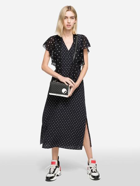 Karl Lagerfeld(卡尔拉格菲尔德)女装品牌2019春夏新款V领收腰显瘦波点印花连衣裙潮