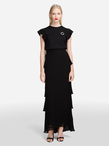 Karl Lagerfeld(卡尔拉格菲尔德)女装品牌2019春夏新款韩版时尚圆领百褶裙气质修身荷叶边花瓣雪纺连衣裙