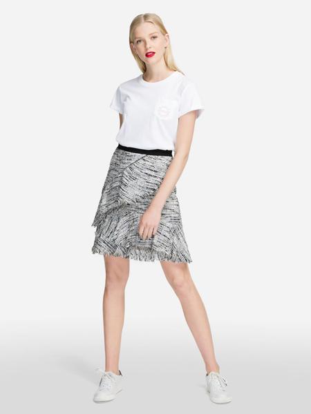 Karl Lagerfeld(卡尔拉格菲尔德)女装品牌2019春夏新款时尚碎花系带高腰半身裙