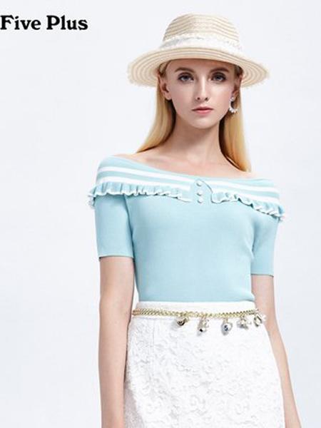 Five Plus5+女�b品牌2019春夏新款�l�y��衫女一字�I修身套�^衫露肩短袖