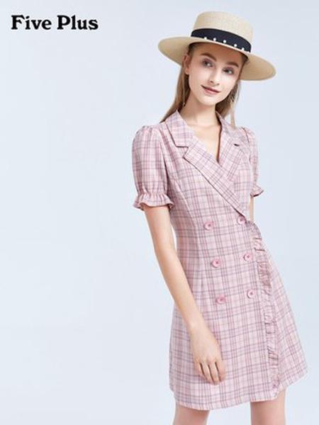 Five Plus5+女装品牌2019春夏新款格子连衣裙女泡泡袖短袖双排扣收腰裙子
