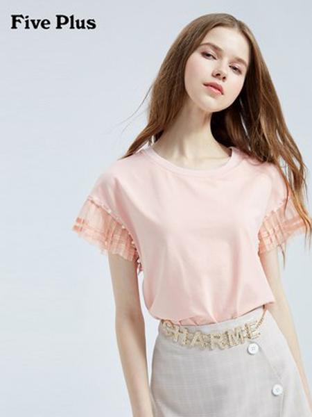 Five Plus5+女装品牌2019春夏新款宽松拼接网纱上衣棉质体恤圆领短袖T恤