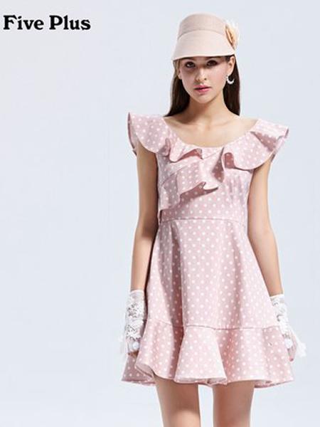 Five Plus5+女装品牌2019春夏新款波点连衣裙高腰荷叶边短裙无袖棉质气质