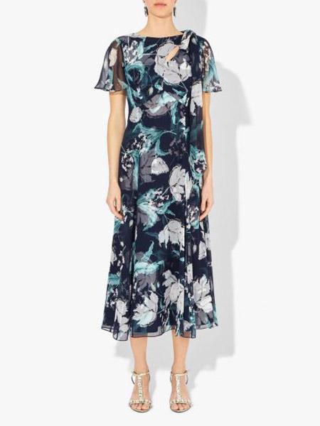 艾尔丹姆Erdem女装品牌2019春夏新款修身显瘦圆领短袖印花中长连衣裙