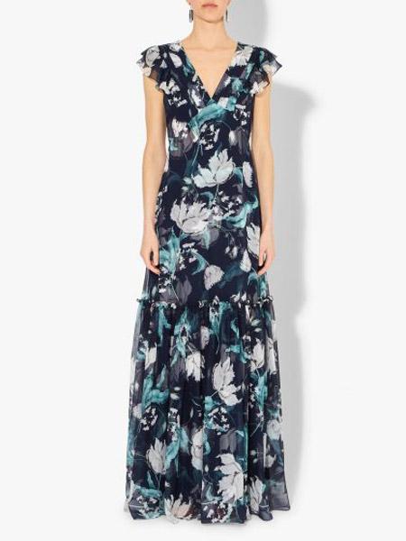 艾尔丹姆Erdem女装品牌2019春夏新款韩版印花雪纺连衣裙时尚V领气质收腰显瘦中长裙潮