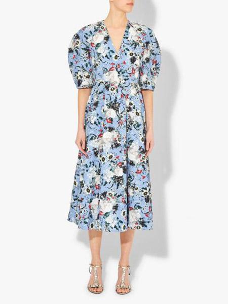 艾尔丹姆Erdem女装品牌2019春夏新款韩版时尚性感V领收腰绑带A字印花长裙潮