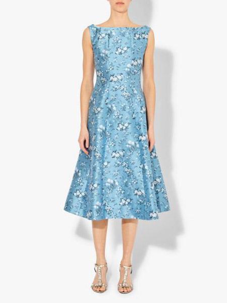 艾尔丹姆Erdem女装品牌2019春夏新款修身显瘦中长款碎花雪纺连衣裙