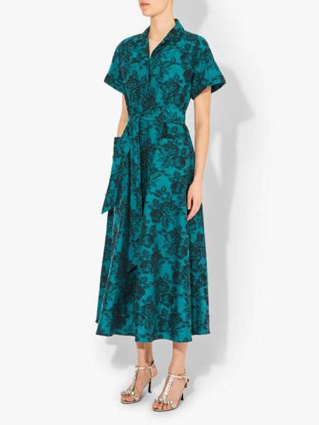 艾尔丹姆Erdem女装品牌2019春夏新款气质显瘦简约收腰长款超大摆雪纺连衣裙