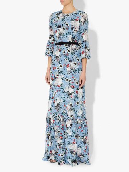 艾尔丹姆Erdem女装品牌2019春夏新款碎花印花高腰显瘦及踝长裙喇叭袖大摆连衣裙