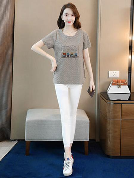 丝柏舍女装品牌2019春夏新款时尚简约圆领刺绣短袖套头常规款t恤