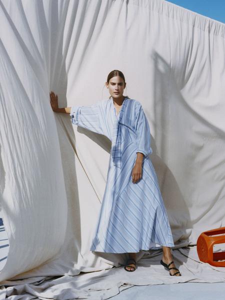 莲娜丽姿女装品牌2019秋季新款长袖宽松韩版中长款条纹连衣裙