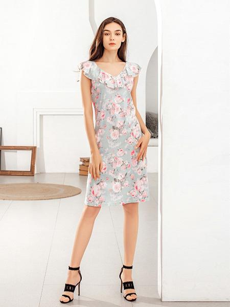 蜜诺内衣品牌2019春夏新款花色雪纺一字领睡裙