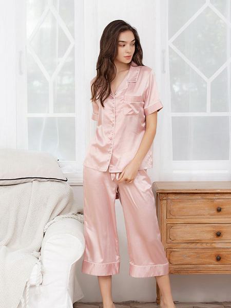 蜜诺内衣品牌2019春夏新款时尚粉色甜美家居服套装