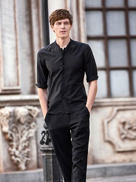 男眼男装品牌2019春季新款韩版立领棉麻中袖潮流百搭衬衫