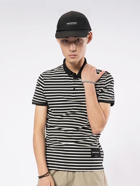 凯施迪 CAISEDI男装品牌2019春夏新款修身条纹韩版翻领短袖T恤