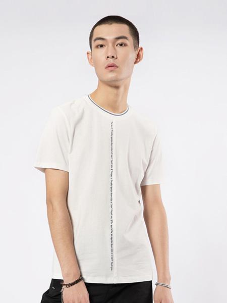 凯施迪 CAISEDI男装品牌2019春夏新款潮流休闲白色圆领修身短袖t恤