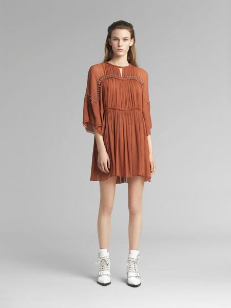 Chloe蔻依女装品牌2019春夏款 砖红色圆领长袖真丝百褶连衣裙