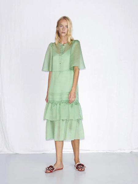 Chloe蔻依女装品牌2019春夏新款薄荷绿荷叶边薄纱短袖连衣裙