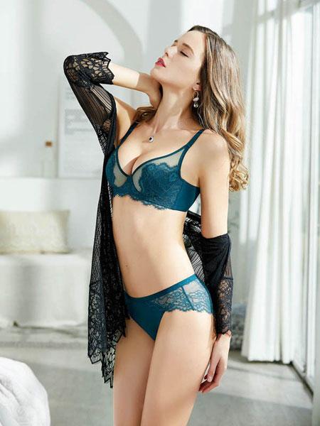 亲闺密语女装品牌2019春夏薄透明蕾丝文胸套装性感全杯无钢圈胸罩